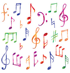 Music notes and signs set musical symbol sketch vector