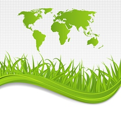 Nature background with map earth and grass vector image