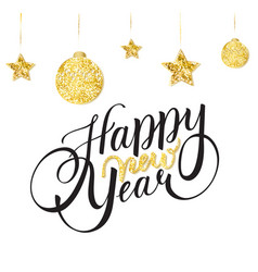 new year card design with lettering with gold star vector image