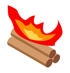 Night campfire icon isometric style vector