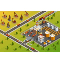 Oill Industry Refinery Facility Isometric Poster vector