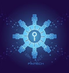 Password key with fintech icon vector