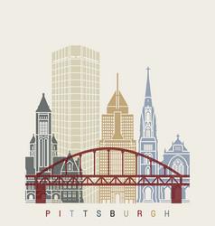 Pittsaburgh v2 skyline poster vector