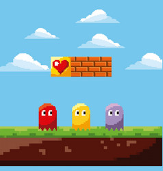 Pixel game ghosts life prize and landscape brick vector
