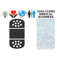 plaster icon with 1300 medical business icons vector image
