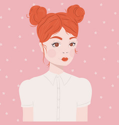 portrait a girl with red hair and double buns vector image