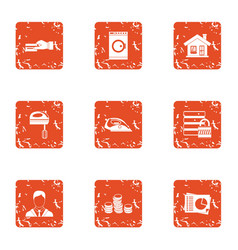 Residential building maintenance icons set grunge vector