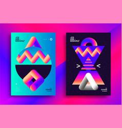 retro futuristic poster design with gradient art vector image