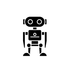 robot black icon sign on isolated vector image