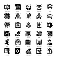 Robotic technology in glyph style pack vector