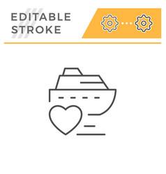 Romantic cruise editable stroke line icon vector
