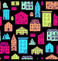 seamless pattern color houses-06 vector image