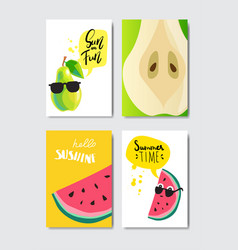 set pear watermelon badge isolated typographic vector image
