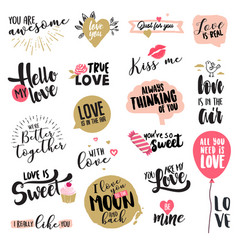 set valentines day stickers and badges vector image