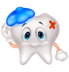 Sick tooth cartoon vector image