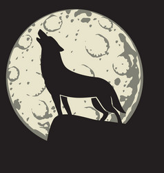 Silhouette of a wolf in the moonlight vector