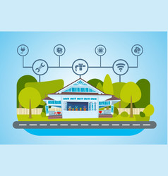Smart house green energy technology system vector