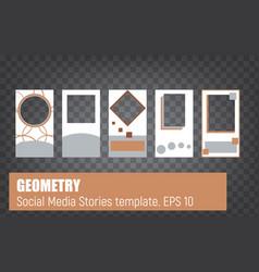 social media stories geometry template set vector image