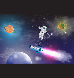 Space exploration with retro rocket planets stars vector
