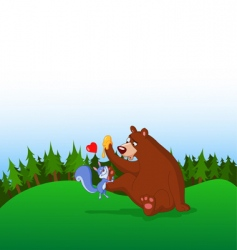 squirrel and bear vector image