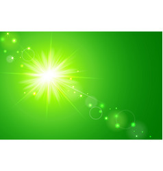 Sun and lens flare green background vector