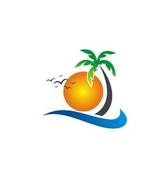 sunset beach tropic palm tree logo vector image
