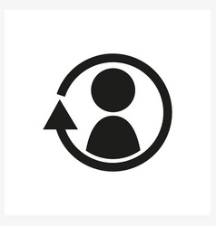 Synchronize update icon with man in the center vector
