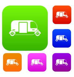 thailand three wheel native taxi set collection vector image