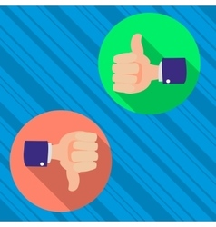 thumbs up and thumbs down like and dislike vector image