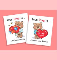 True love is feel romantic and show feelings set vector