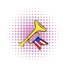 Trumpet with USA flag icon comics style vector