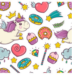 Unicorn sweet and donut set of stickers pins vector