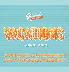 vacations vintage 3d summer alphabet vector image