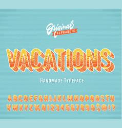 Vacations vintage 3d summer alphabet vector