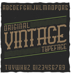 Vintage label font with sample label design vector