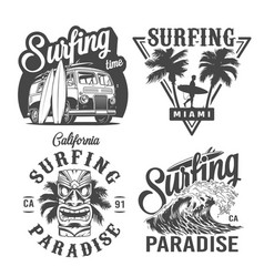 Vintage monochrome surfing labels vector