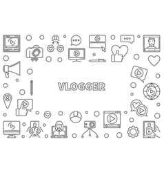 Vlogger or frame in thin line vector