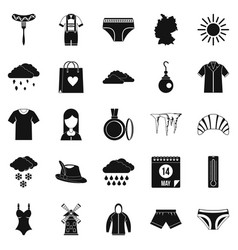 Warm clothes icons set simple style vector
