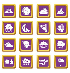 weater icons set purple square vector image