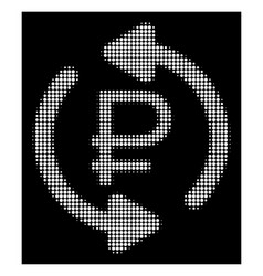 White halftone refresh rouble balance icon vector