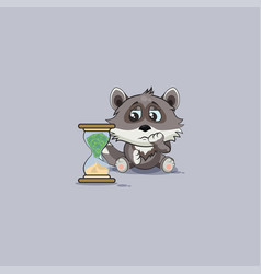 Wolf cub pup sticker emoticon sits at hourglass vector
