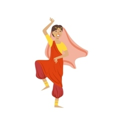 Woman In Veil And Wide Trousers Dancing In Hindu vector