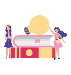 Women student books and bulb idea vector