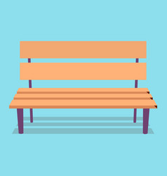 wooden bench with purple legs on blue background vector image