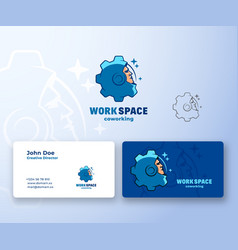 work space coworking abstract logo and vector image