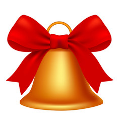 xmas gold bell icon realistic style vector image