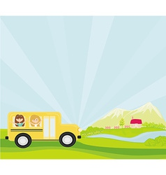 a school bus heading to school with happy children vector image