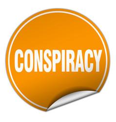 Conspiracy round orange sticker isolated on white vector