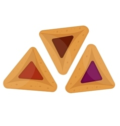 Hamantaschen icon Flat style isolated on white vector image vector image