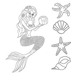 Mermaid isolated on white background vector image